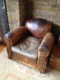 Rejuvenation Salvage Sighting: well-worn leather arm chair B L O O D A N D C H A M P A G N E . C O M: