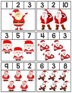 $1 | Clip cards featuring Santas to help teach numbers 1-10. Super easy prep, 18 cards total! #mathcenters #math #preschool #preschoolers #preschoolactivities #kindergarten #Homeschooling #teacherspayteachers