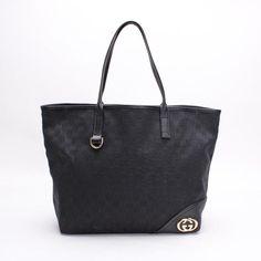 GUCCI   Double G Shoulder bags Black Canvas 169945
