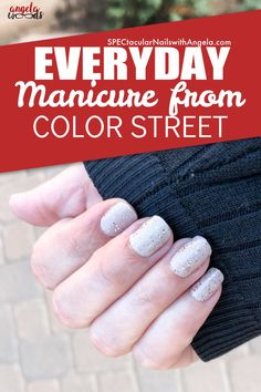 Do you need an easy nail design idea for your nails? Treat yourself to a neutral nail look with Giza Sands's cool beige. Then, add a touch of sparkle with Champagne Sugar's brilliant gold and holographic glitter Get sassy, beautiful nails at home with Color Street. #simplenailartdesigns #prettynailartdesigns #bestnailartdesigns