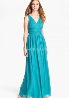 Cheap and Australia Pool A-line V-neck Ruched Bodice Floor Length Chiffon Bridesmaid Dresses from En.dresses4Australia.com.au