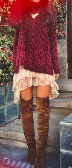 Thigh High Boho Boots Suede Floral Chiffon Skirt Dress Sweater Knit