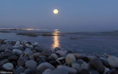 August 10 supermoon over Loutraki, Greece by Mellissa Briley.