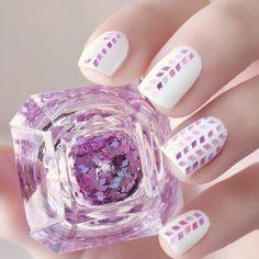 #nails #white #purple