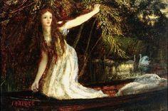 the lady of shalott   ... Raphaelite Art: Arthur Hughes - The Lady of Shalott, a study (c.1860