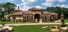 Lakeway Texas Tuscan Front Elevation by Zbranek & Holt Custom Homes Lakeway Austin Custom Home Builder