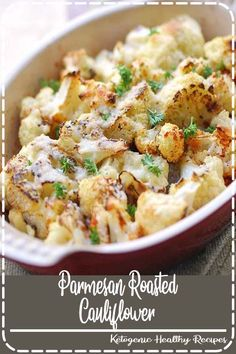 Parmesan Roasted Cauliflower, Healthy Keto Recipe Cheesy Baked Cauliflower: Cauliflower florets are tossed in olive oil and garlic, baked until just tender, then topped with Parmesan and baked until golden brown. Healthy Food Blogs, Healthy Recipes, Vegetable Recipes, Low Carb Recipes, Vegetarian Recipes, Healthy Eating, Healthy Cauliflower Recipes, Colliflower Recipes, Cooking Cauliflower