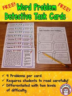 Problem Detective Word Problem Task Cards FREEBIE - These longer story problems require students to read carefully to find the information they need. Two levels included! Maths 3e, Math Math, Math Writing, Kids Math, Multiplication, Math Fractions, Math Story Problems, Word Problems 3rd Grade, Fraction Word Problems