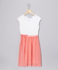 Take a look at this Ivory & Coral Polka Dot Lace Dress - Girls by Speechless on #zulily today!