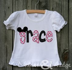 Girls Personalized Hand Appliqued Mickey Mouse Disney Shirt Name. $38.00, via Etsy.