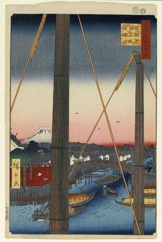 Hiroshige - One Hundred Famous Views of Edo Autumn 77 Inari Bridge and the Minato Shrine in Teppōzu (鉄砲洲稲荷橋湊神社 Teppōzu Inaribashi Minato jinja?)Hatchōbori Canal, Minato Shrine, Inari Bridge, Mount Fuji — 1857 / 2Minato, Chūō