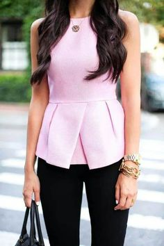 Tibi Pink Peplum Top and Hudson Black Skinny Jeans. -- love peplum and structured tops Cute Work Outfits, Summer Outfits, Look Fashion, Womens Fashion, Mein Style, Mode Chic, Office Looks, Looks Style, Work Attire