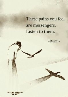 The pains you feel are messengers. Listen to them.