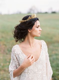 Crown - Anna Marguerite https://www.etsy.com/listing/203110781/edwardian-leaf-circlet-bridal-circlet  Wedding Dress: Carol Hannah - http://www.carol-hannah.com Photography: Shannon Moffit Photography - www.shannonmoffit.com   Read More on SMP: http://www.stylemepretty.com/2017/02/18/the-ultimate-elegant-backyard-wedding-inspiration/