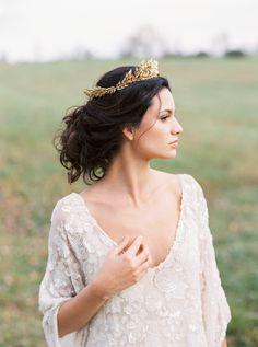 Crown - Anna Marguerite https://www.etsy.com/listing/203110781/edwardian-leaf-circlet-bridal-circlet  Wedding Dress: Carol Hannah - http://www.carol-hannah.com Photography: Shannon Moffit Photography - www.shannonmoffit.com   Read More on SMP: http://www.stylemepretty.com/2017/02/18/the-ultimate-elegant-backyard-wedding-inspiration/
