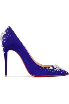 Christian Louboutin | Candidate 100 embellished suede pumps | NET-A-PORTER.COM