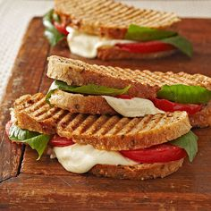 The classic Italian trio of tomatoes, basil, and melty mozzarella come together in this Caprese Panini. More sandwich recipes: http://www.bhg.com/recipes/sandwiches/sandwiches #myplate #sandwich
