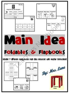 Main Idea Foldables & Flapbooks (Includes 7 Different Printables!) product from Mrs-Lane on TeachersNotebook.com