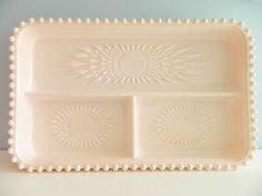 Jeannette shell pink milk glass tray