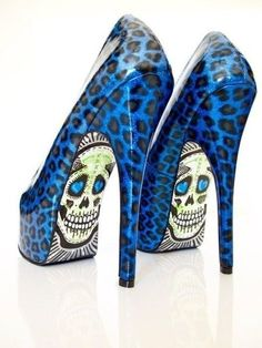 zombie! #skull #leopard #print #shoes #heels #blue