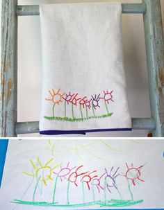 child's artwork becomes a beautiful embroidered tea towel!