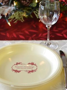 Disposable 10 inch round plastic dinner plates personalized with choice of Christmas design and up to 4 lines of custom print Christmas Dinner Plates, Christmas Party Decorations, Christmas Design, Christmas Holidays, Pie Dish, Holiday Parties, Holiday Recipes, Alcoholic Drinks, Plastic
