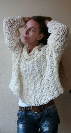 ivory chunky knit sweater, women's sweater, over sized, slouchy sweater loose knit, chunky, handknit, boyfriend sweater