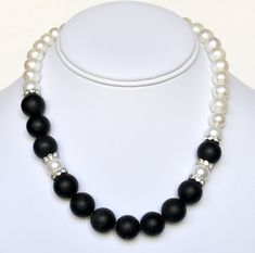 Pearl Necklace Black Handmade Beaded Jewelry in Silver Beaded Necklace Swarovski Pearls