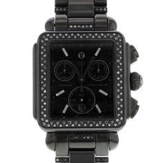 Pre-owned Michele Deco MWW06A000774 Steel PVD Coated & Black Diamonds... ($999) ❤ liked on Polyvore featuring jewelry, watches, analog wrist watch, fine jewelry, steel watches, analog watches and quartz chronograph watch