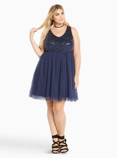 Special Occasion Sequin Tulle Skater Dress, PEACOAT