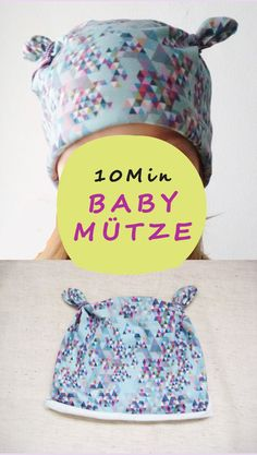 In nur 10 Minuten eine einfache Knotenmütze nähen lernen. Die perfekte Babymütze für Anfänger. Das Schnittmuster ist denkbar einfach: Ein Quadrat.