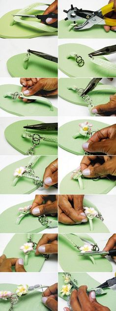 Decorating Flip Flops With Chains, Flowers & Beads; Tutorial - Decorating Flip Flops With Chains, Flowers & Beads; Flip Flops Diy, Bling Flip Flops, Flip Flop Craft, Crochet Flip Flops, Flower Tutorial, Diy Tutorial, Beads Tutorial, Decorating Flip Flops, Flipflops