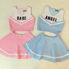 "mor-rissey: "" girlscoutmermaid: "" which one do i get?? hardest decision of my life? "" Can someone please link me to these outfits ? "" Babe & Angel Sets"