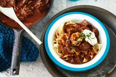 A hearty beef goulash made easy in the slow cooker and served with fettuccine.