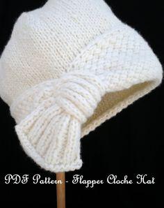 PDF Pattern Women Knit Cloche Hat - Flapper Cloche Hat