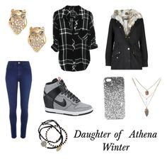 """Daughter of Athena, winter outfit"" by julia-a-grossman on Polyvore featuring Kate Spade, River Island, NIKE, Topshop and Feather & Stone"