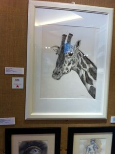 Giraffe.  Large pen and ink drawing.  Winner of the Presidents choice at the Folkestone Art Society exhibition. Yvonnemayartist.co.uk