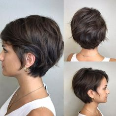 Cute Textured Brunette Pixie Bob - New Hair Styles Bob Haircuts For Women, Short Bob Haircuts, Short Hairstyles For Women, Pixie Bob Haircut, Ladies Hairstyles, Haircut Short, Popular Haircuts, Pixie Bangs, 1940s Hairstyles