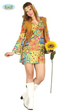Women's flower power hippie costume from the - Modern Hippie Style, Estilo Hippie Chic, Mode Hippie, Halloween Chic, Adult Halloween Party, Pop Culture Halloween Costume, Halloween 2020, Flower Power Hippie, Hippie Fancy Dress Costume