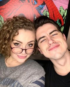 Carrie Hope Fletcher and Oliver Ormson Carrie Hope Fletcher, Love To Meet, Gorgeous Men, Role Models, Youtubers, Carry On, Actors & Actresses, Musicals, Broadway
