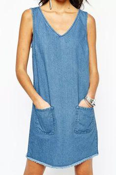 Bleach Wash Pocket Denim Sleeveless Dress