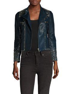 Luxy Embellished Trim Leather Jacket por Zadig