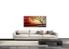 Original Red Landscape Painting on Canvas Tree Art Earth Tones