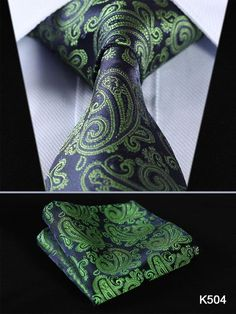 C ALLEN Paisley Tie Handkerchief Woven Classic Mens Necktie /& Pocket Square Set Green