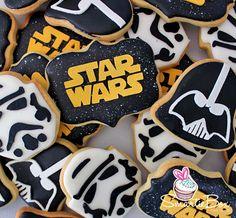 Star Wars Cookies with Darth Vadar, Stormtroopers and Star Wars logo - SmartieBox Cake Studio