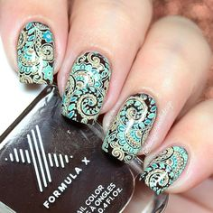 Ana✨Nail Art-Tutorial-Swatches en Instagram: New design reverse stamping. I use following: ~Stamping plate SB034 @sugar__bubbles ~Decadent, Enigma and High Frecuency @formulaxnail