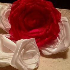 Painting the roses red.. Hand made ribbon roses for custom made - wickedly cute canvas totes!  Crystalized Ginger Designs  Order yours today!!