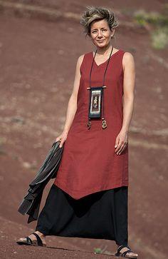 Vêtement femme en soie et lin -Tunique rouge et sarouel-jupe  noir