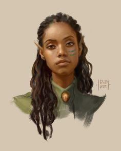 """Elf by Iga """"Igson"""" Oliwiak Fantasy Character Design, Character Design Inspiration, Character Concept, Character Art, Fantasy Portraits, Character Portraits, Fantasy Artwork, Black Characters, Fantasy Characters"""