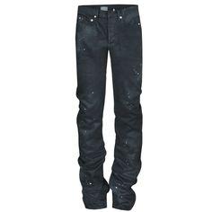 DIOR HOMME $860 black paint splattered coated MIJ denim skinny 16cm jeans 27 NEW #DiorHomme #SlimSkinny #16cm #MIJ #PaintedDenim